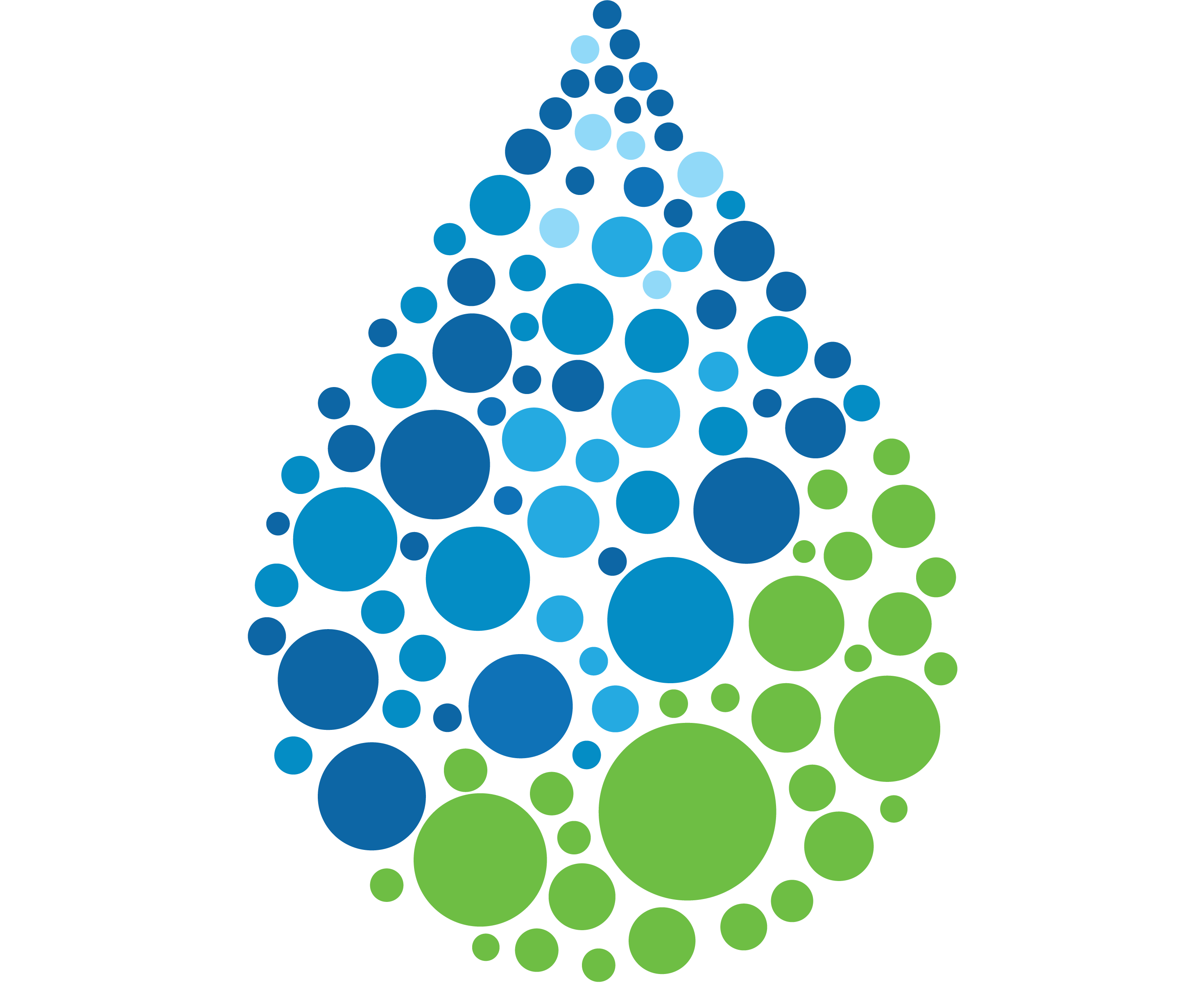 Water drop with different sizes circles within it of blue and green
